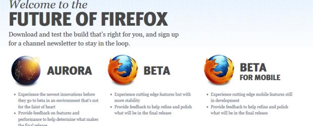 """la beta 5 pointe déjà son nez : Mozilla sort Aurora et un système de """"channel"""" de mise à jour, à la Chrome."""