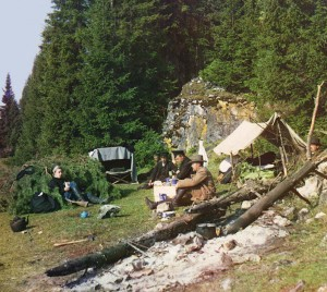 Overnight Camp by a Rock on the Bank of the Chusovaia River