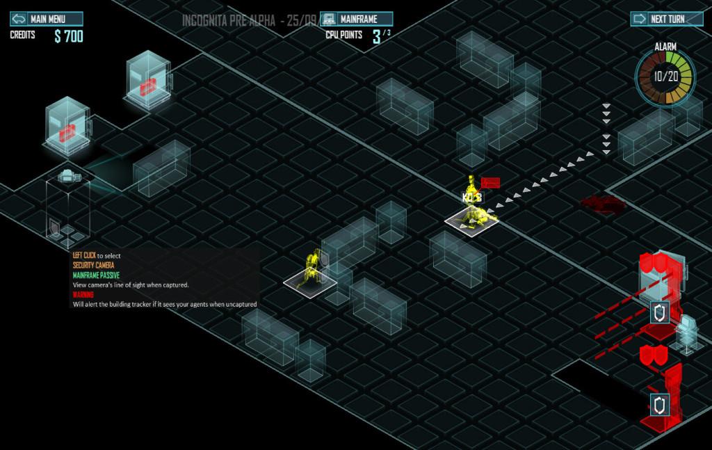 la Mainframe pour hacker les systèmes : en bas des lasers non contrôlés, en haut des coffres et une caméra sous contrôles
